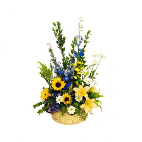 Ce merveilleux panier d osier offre une variété de fleurs dont de ... 22ceeb0473b